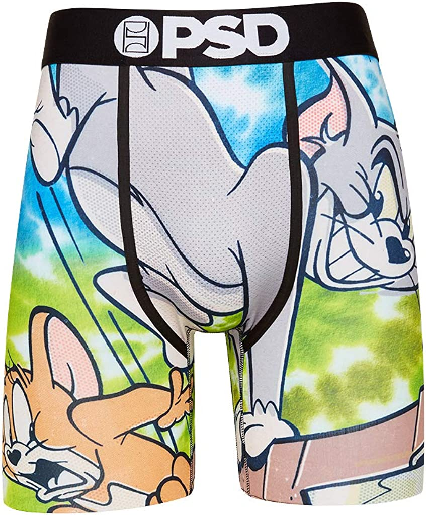 PSD Underwear Men's Stretch Elastic Wide Band Boxer Brief Underwear Bottom -Tom & Jerry| Breathable, 7 inch Inseam |