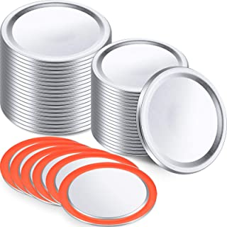 24 Pieces Canning Jar Lids Wide Mouth Jar Lids Stainless Steel Leak Proof Split-type Lids Compatible with Regular Mason Ja...