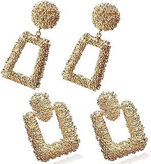 2 Pack Statement Geometric Drop Earrings Set Coin Pearl Ball Bamboo Earrings For Women