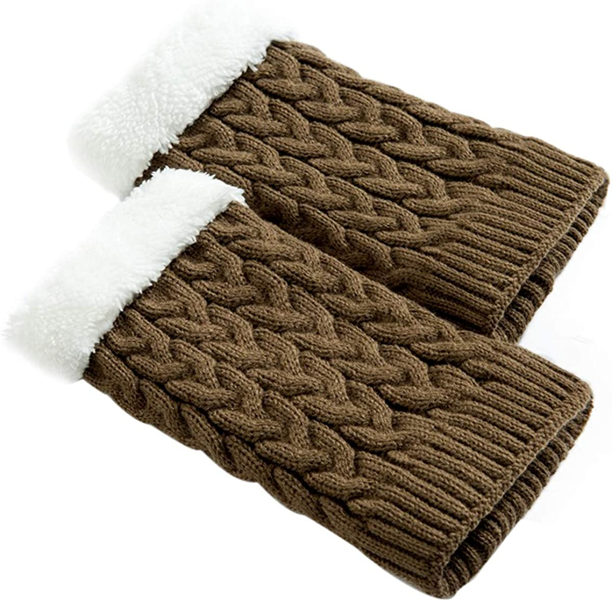 Women Winter Plus Velet Knee Cable Knit Warmer Thermal Sleeve