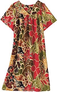 AmeriMark Lounger House Dress with Pockets for Women Mumu Nightgown