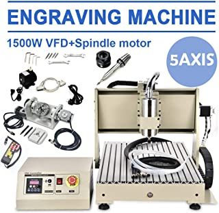HYYKJ 6040 CNC Router Machine 5 Axis 1.5KW VFD USB Desktop DIY CNC Engraver Engraving Drilling Milling Carving Machine 3D Cutter Printer Artwork Woodworking Machinery (with Remote Controller)