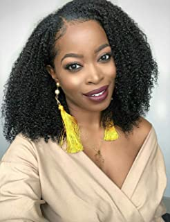Luwigs 150% Density U Part Wig Afro Kinky Curly 4B 4C Human Virgin Hair for Black Women Lace Front Wigs Natural Color Natural Hairline (14 inches, Afro Kinky Curly 4B 4C)