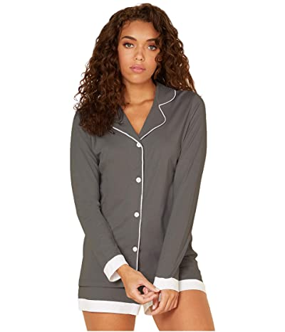 Cosabella Bella Long Sleeve Top Boxer PJ Set (Anthracite/Ivory) Women