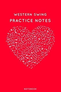 """Western Swing Practice Notes: Red Heart Shaped Musical Notes Dancing Notebook for Serious Dance Lovers - 6""""x9"""" 100 Pages J..."""