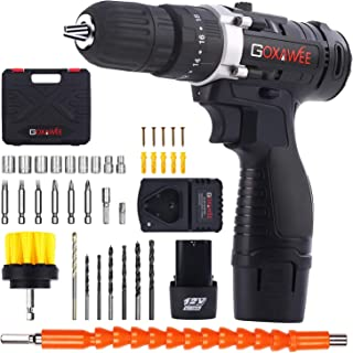 Cordless Drill with 2 Batteries - GOXAWEE Electric Screw Driver Set 100pcs with Hammer Function (12V, 18+3 Torque Setting, 30Nm, 3/8 inch Auto Chuck, 2-Speed) for Home Improvement & DIY Project