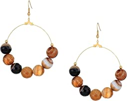 Gold Hoop Brown Agate Bead Fishhook Earrings