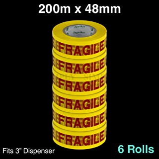 6 Rolls Fragile Tape 200M x 48mm Packaging Packing Sticky Adhesive Yellow Red