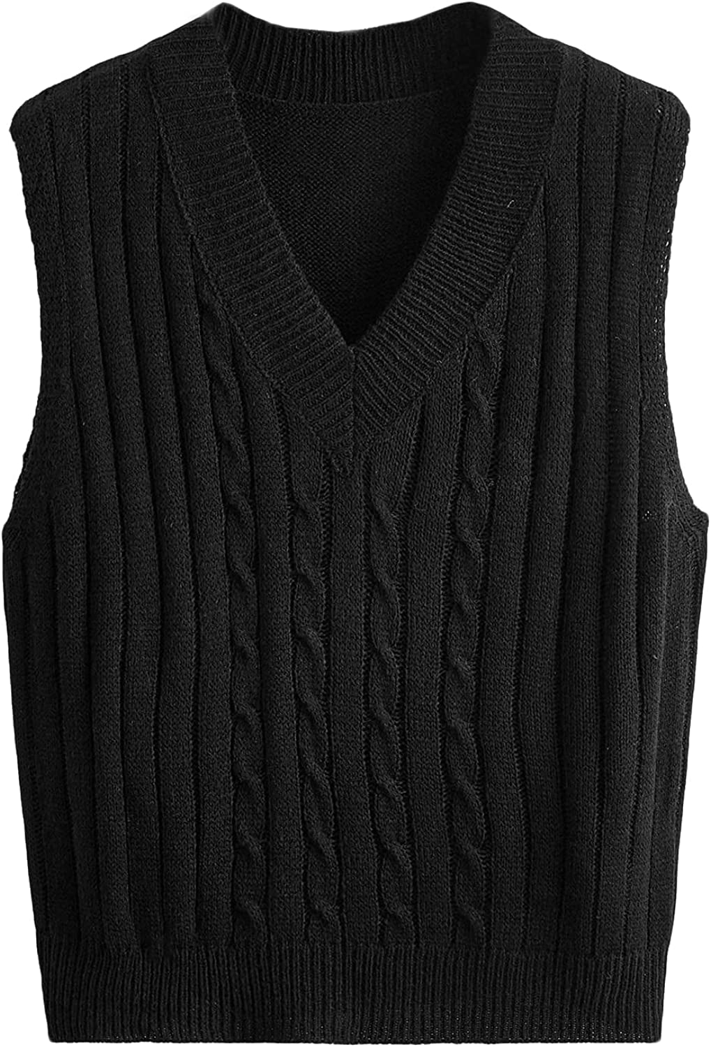 Milumia Women's Casual Cable Knit Sweater Vest V Neck Sleeveless Solid Ribbed Tank Top