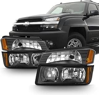 For Black 2002 2003 2004 2005 2006 Chevy Avalanche Body Cladding Model Headlights+Bumper Lights Set