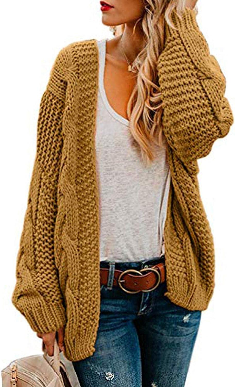 soyienma Cardigan Sweaters for Women,Womens Open Front Long Sleeve Chunky Knit Cardigan Sweaters Loose Outwear Coat