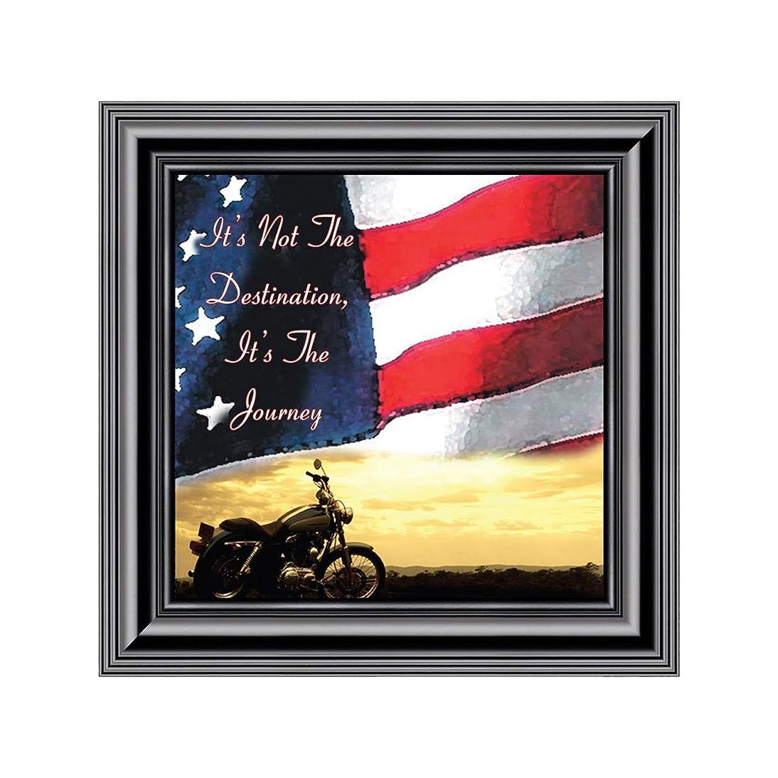 Elegantly Yours Its Not The Destination Flag Sky Picture Frame, Harley Davidson Bike, 10x10 8552B