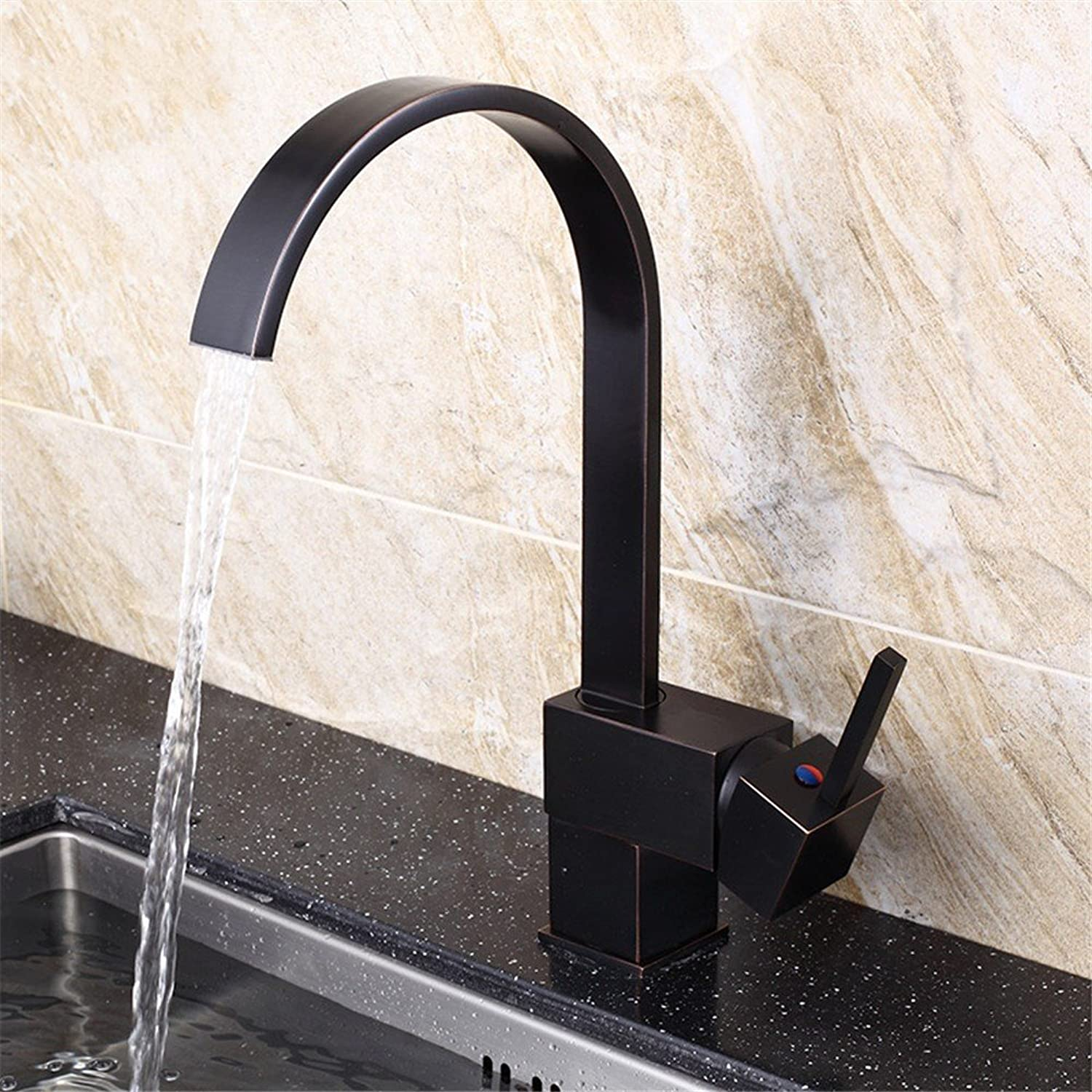 Lpophy Bathroom Sink Mixer Taps Faucet Bath Waterfall Cold and Hot Water Tap for Washroom Bathroom and Kitchen Black Retro Universal redating Copper Hot and Cold B