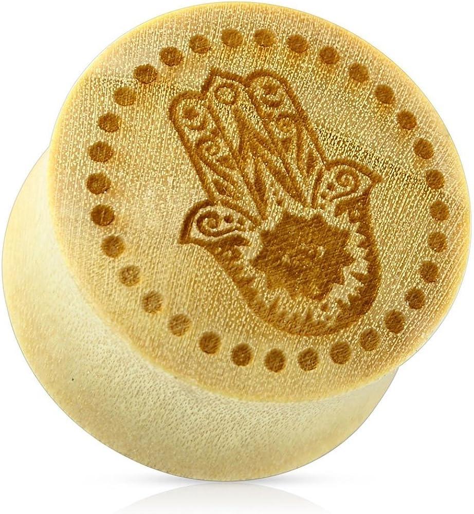 Covet Jewelry Hamsa Hand with Dotted Circle Organic Wood Saddle Fit Plug