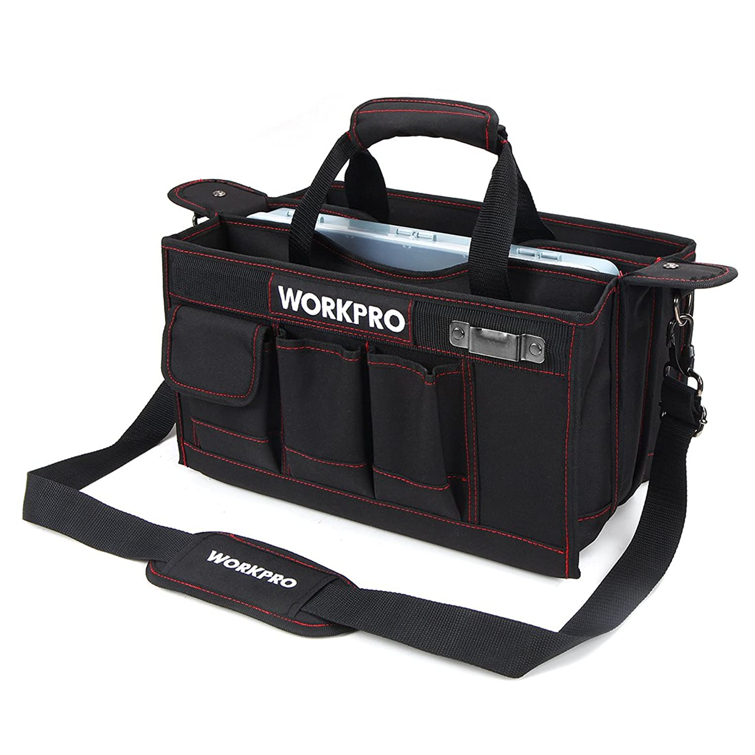 WORKPRO 15-inch Tool Storage Bag Collapsible with Center Tray for Hardware Parts, Adjustable Shoulder Strap Included