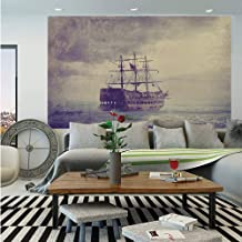 Sailboat Nautical Decor Wall Mural,Old Pirate Ship in The Sea Historic Legend Cruise Retro Voyage Grunge Style,Self-Adhesive Large Wallpaper for Home Decor 55x78 inches,Light Brown