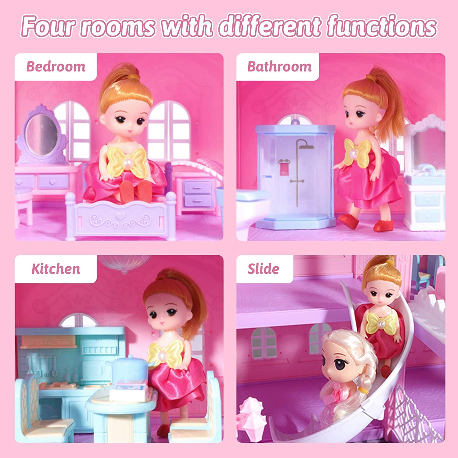 KAINSY Dollhouse Pink 388-36 Dream House Kit with Led Luminous DIY Pretend Play Doll House Building Toys Playset Accessories with Furniture//Dolls//Pets//Slide for Toddlers Girls Best Gifts