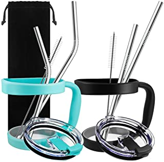 10 Pieces 30oz Tumbler Holders Handles + Tumbler Lids + Stainless Steel Straws + Cleaning Brushes, SourceTon Accessories K...