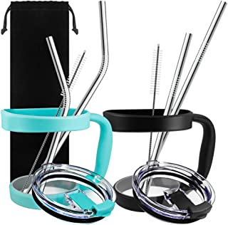10 Pieces 30oz Tumbler Holders Handles + Tumbler Lids + Stainless Steel Straws + Cleaning Brushes, SourceTon Accessories Kit compatible with Yeti Rambler Rtic (OLD STYLE ONLY) Ozark Trail Berg SIC