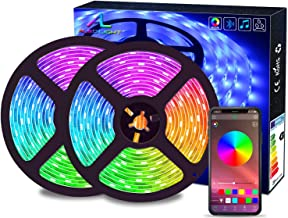 Bluetooth LED Strips Lights, ALED LIGHT 5050 RGB 2x5 meters LED Strip Lights 300 LED Waterproof Light Band Controlled by R...