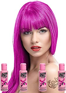 Renbow Crazy Color Semi Permanent Hair Color Cream Pinkissimo No.42 100ml x 4 Bottles. by Renbow