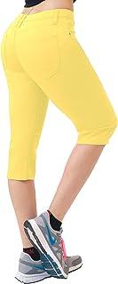 Hybrid & Co. Women's 17 inch Butt Lift Super Comfy Stretch Denim Capri Jeans