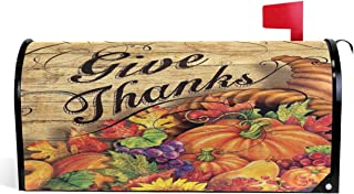 Wamika Give Thanks Thanksgiving Mailbox Cover Horn of Plenty Pumpkins Mailbox Covers Magnetic Autumn Fall Mailbox Wraps Post Letter Box Cover Garden Decorations Standard Size 18