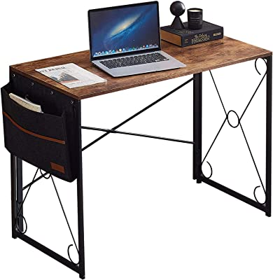 """VECELO Computer Industrial Style Writing Study Desk with Storage Bag/Sturdy Steel Folding Laptop Table for Home Office,Rustic Brown, 39.3"""""""