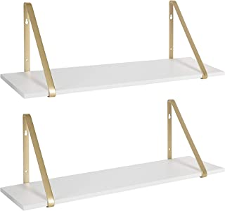 Kate and Laurel Soloman White Wooden Shelves with Gold Metal Brackets, 2 Piece Set