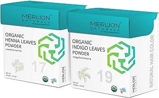 Organic Henna & Indigo Powder by MERLION NATURALS | Lawsonia Inermis; Indigofera tinctoria | USDA NOP Certified 100% Organ...