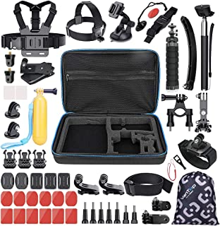 VanTop 59 in 1 Accessories Kit for GoPro Hero7 6 5 4 3+ 3 2 1, Hero Session, GoPro Fusion, AKASO, APEMAN, Lightdow, Xiaomi Yi and More, Outdoor Sports Action Camera Accessory Kit with Carrying Case