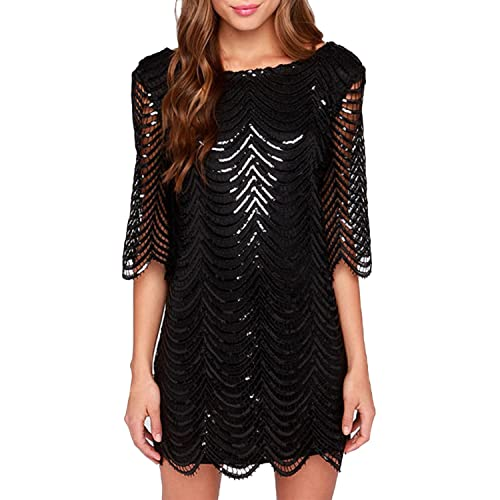 LAEMILIA Womens Sparkle Mermaid Mini Party Dress Sequin Shiny Lace Hollow Out Half Sleeves Wave Metallic Shift Clubwear