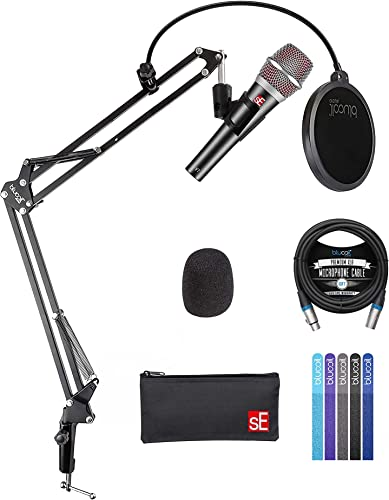 new arrival sE Electronics V7 Dynamic Microphone for discount Vocals, Drums, Guitar Amps and Acoustic Instruments Bundle with Blucoil Boom sale Arm Plus Pop Filter, 10-FT Balanced XLR Cable, and 5-Pack of Reusable Cable Ties online
