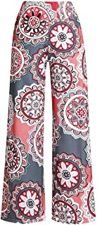 Wide Leg Pants Womens Casual Ethnic Pattern Print Loose Long Trousers