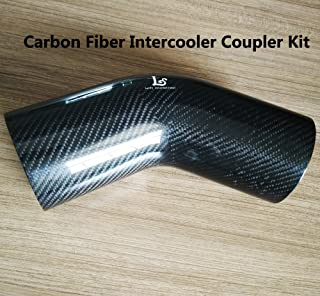 LaiYi International 45 Degree OD3.5inch Carbon Fiber Auto Elbow Turbo Intake Radiator Hose Intercooler Coupler Kit