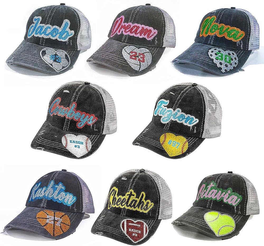 Baseball Cap Custom Embroidery Text Sport Ball Logo - Personalized Hat Baseball Football Softball Cap Customized Embroidered Hat for Women Men Unisex Black