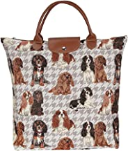 Signare Dog Print Tan Re-usable Tapestry Fold-able Shopping Bag in Cavalier King Charles Spaniel (FDAW-KGCS)
