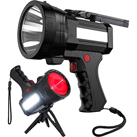 BIGSUN Rechargeable Spotlight, High High Lumens 100000 LED Flashlight with Red Lens, 10800mAh USB Power Bank, Left Side Floodlamp & Warning Lamp for Home Security, Camping, Boat, Hunting and more