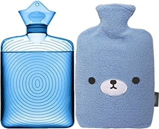 Samply Transparent Hot Water Bottle- 2 Liter Water Bag with Cute Fleece Cover, Bear Blue