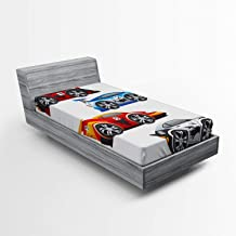 Ambesonne Cars Fitted Sheet, Group of Formula Race Cars Modern Mechanical Technology Automotive Championship, Bed Cover wi...