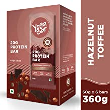 Yogabar 20 gram Protein Bar Hazlenut Toffee - 6 x 60 g (Single Pack)