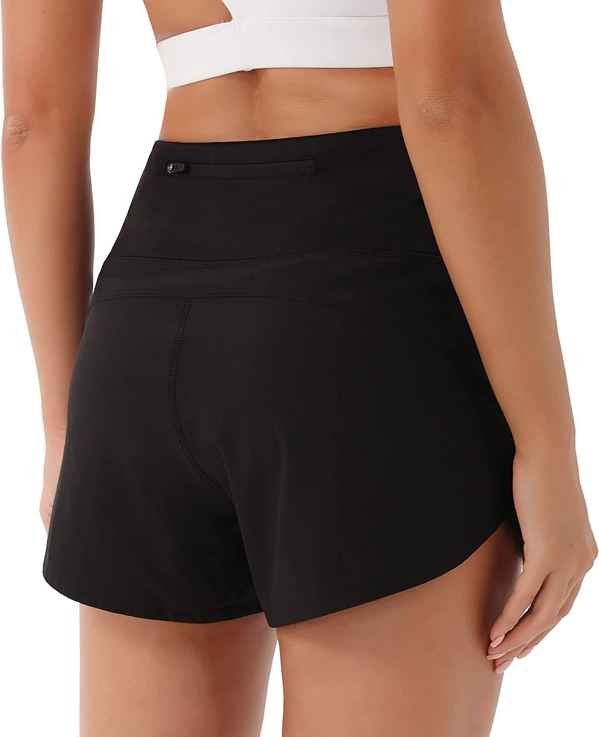 PERSIT Women's Quick Dry Running Athletic Shorts Sports Layer Lounge Elastic Waist with Back Zip Pocket & Inner Pocket : Sports & Outdoors