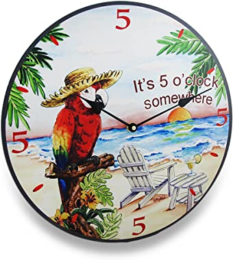 It`s Five O`Clock Somewhere Tropical Parrot Wall Clock 15 in.