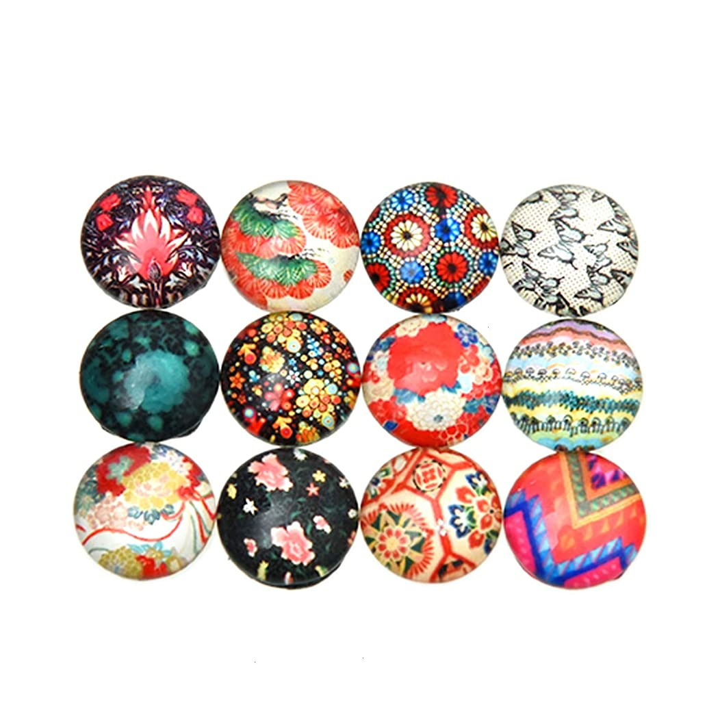 Monrocco 200 Pieces 12 mm Round Glass Cabochon Beads with Printed Glass Half Round/Dome Cabochons for Jewelry Making