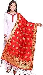 Women's Red Color Silk Banarasi Dupatta-11FD116