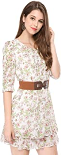 Allegra K Women's Floral 3/4 Sleeve Scoop Neck Belted Layered Mini Short Dress