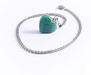 Collar De Jadeíta Verde Corazón, Piedras Naturales y Cadena de Acero Inoxidable