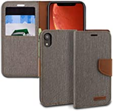iPhone XR Case, ModeBlu [Pocket Diary Series] [Grey] Wallet Case ID Credit Card Cash Slots Premium Canvas [Stand View] for Apple iPhone XR