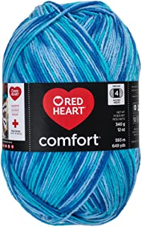 RED HEART Comfort Yarn, Turquoise/Blue Print
