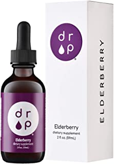 Organic Elderberry Sambucus Drops with Vitamin C for Immune Support - No Artificial Preservatives, Gluten Free, Vegan Frie...